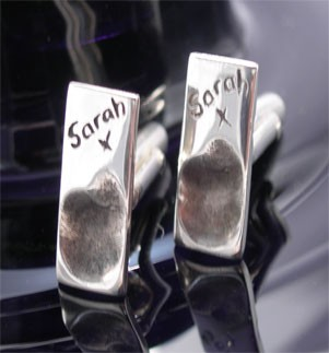 Silver Fingerprint Ingot Cufflinks