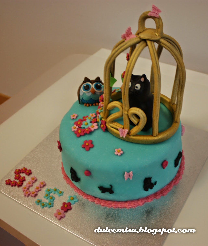 tarta, cumpleaños, jaula, gato, búho, fondant, dulcemisu, flores, reposteria creativa