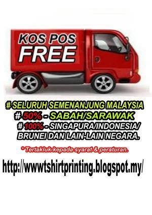 Free Pos bagi tempahan 30pcs, diseluruh Semenanjung Malaysia, dan 50% bagi Sabah dan Serawak