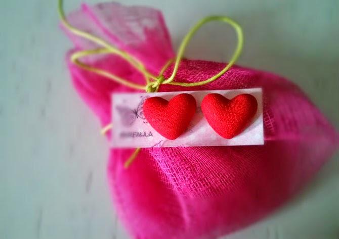 hand made red heart stud earrings