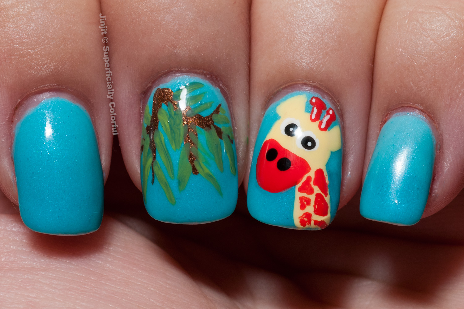 Giraffe nail art tutorial