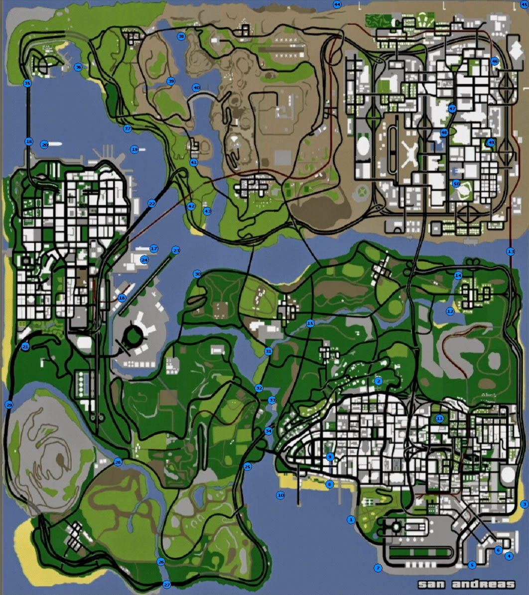 Mapa das ostras do GTA SAN ANDREAS
