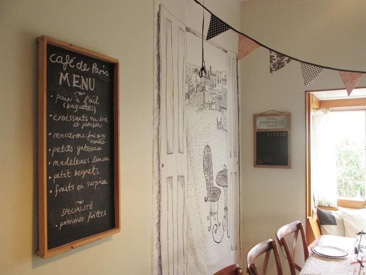 La cafe de paris Party blackboard Menu & backdrop
