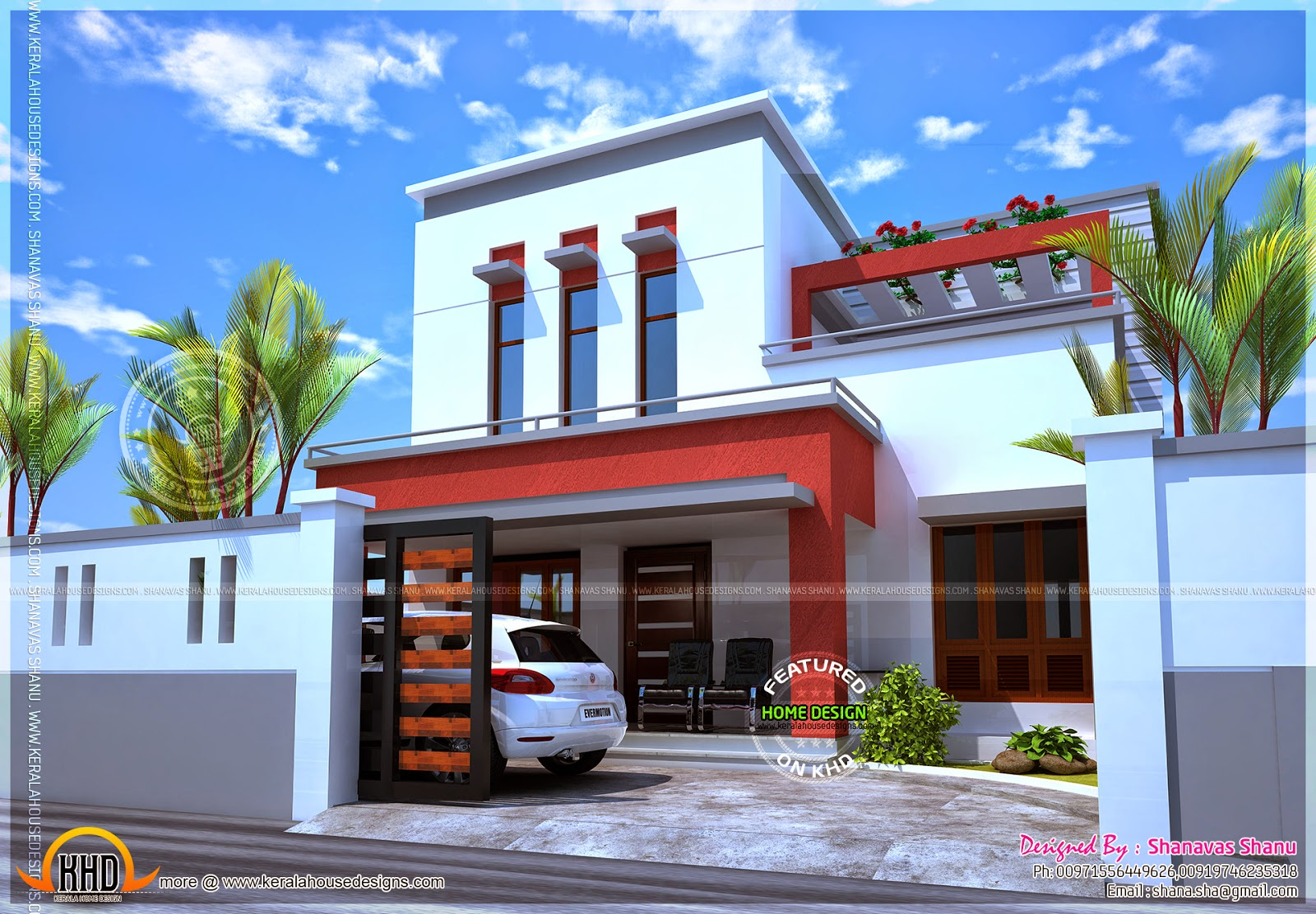 Beautiful house flat roof kerala home design and floor plans for Modern beautiful house