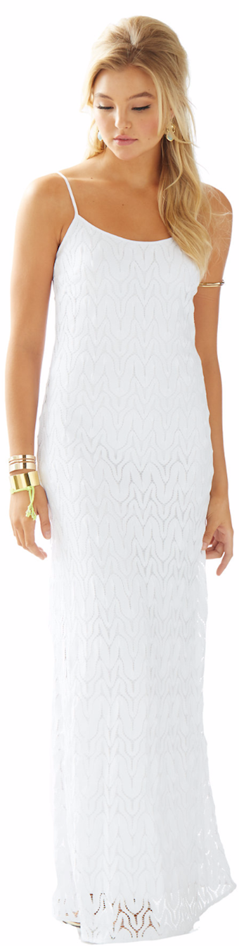 LILLY PULITZER AVALON SPAGHETTI STRAP LACE MAXI DRESS WHITE