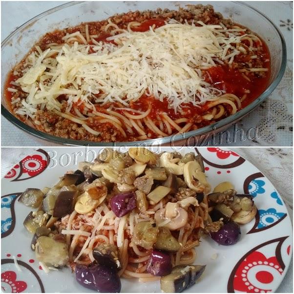 Espaguete sem glúten a bolonhesa com berinjela e champignon