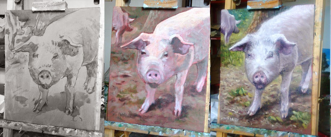 WIP pink pig portrait oil painting in stages Martin Davey