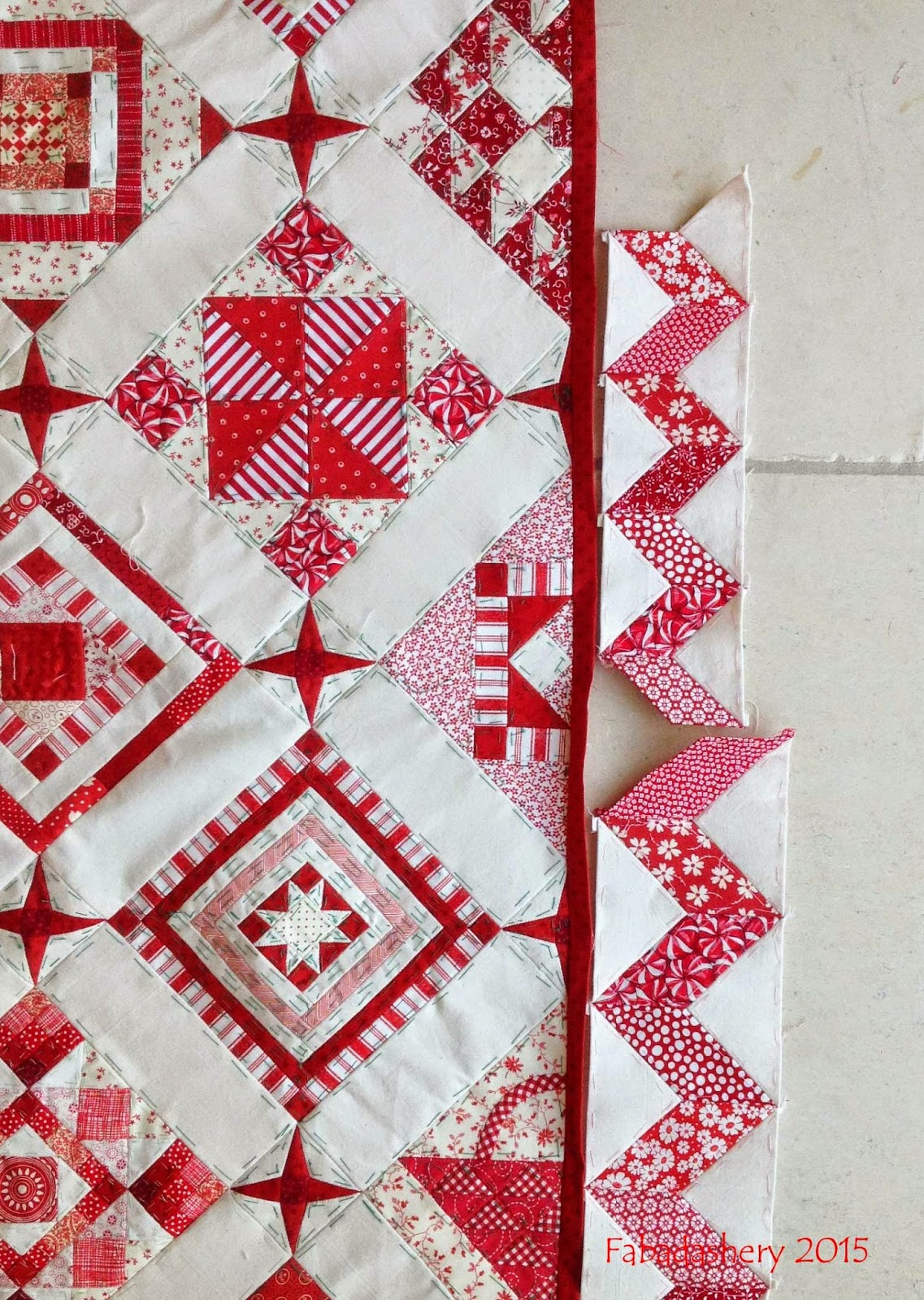 Nearly Insane Quilt - Small Red with White Zig Zag Border