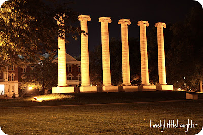 columns at night University of Missouri
