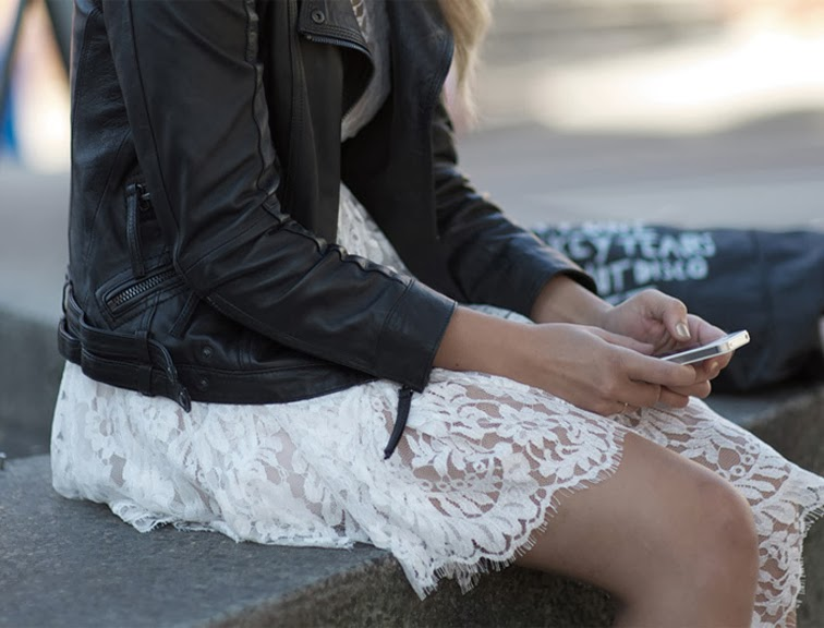White lace dress leather bomber