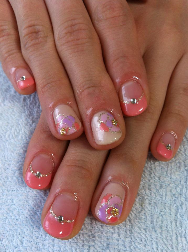 Cute nail designs gel painted flower nails by ayano orange pink gel nail french nails with gel painted flowers with silver polish lines on beige floater prinsesfo Image collections