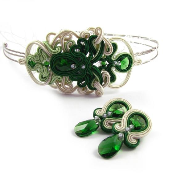 Zielone kolczyki ślubne sutasz i opaska do włosów z woalką