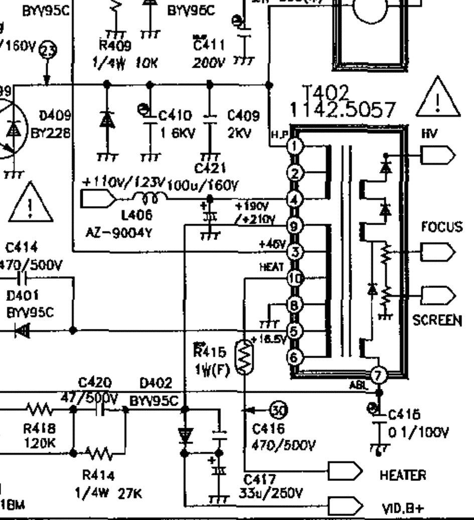 схема строчный трансформатора bsc25