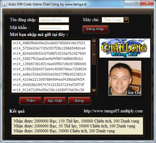 auto gift code game chân long giáng thế Việt Nam