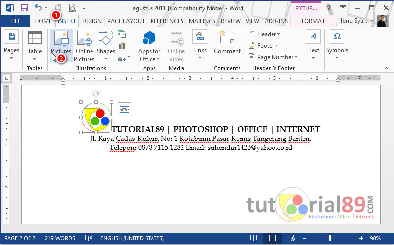 Cara membuat kop surat di Microsoft word