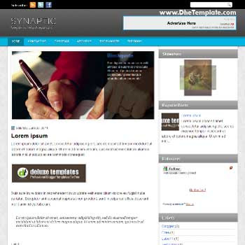 Synaptic blogger template. magazine style template blogger. featured content blogger template