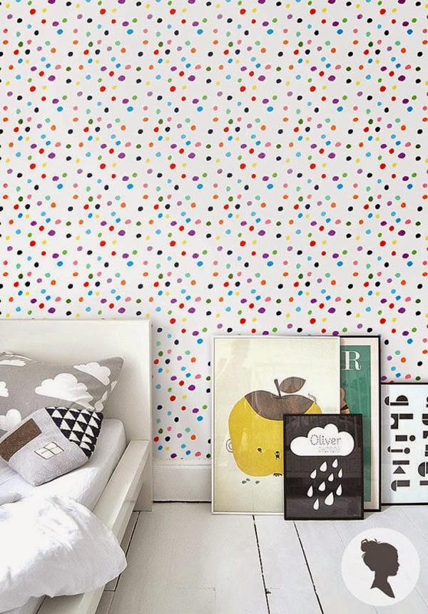 10 paredes de lunares irresistibles 10 dotted walls for Papel pintado de lunares
