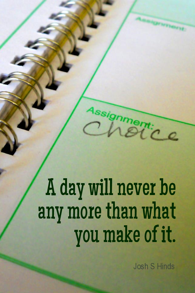 visual quote - image quotation for CHOICE - A day will never be any more than what you make of it. - Josh S Hinds