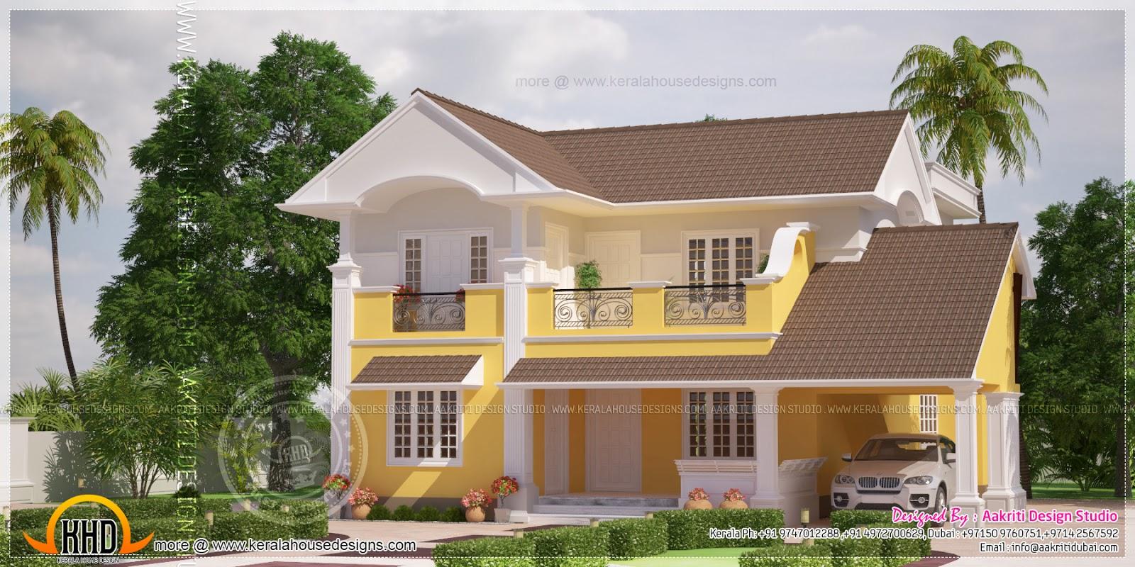 Beautiful yellow color villa elevation in 2350 square feet for Villa elevation design