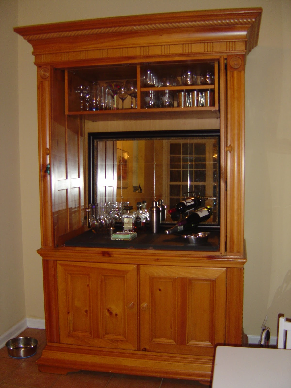 Converted An Entertainment Center Into A Bar This Was Easy Project And Turned Out Great With Minor Modifications Mirror Added It S Perfect