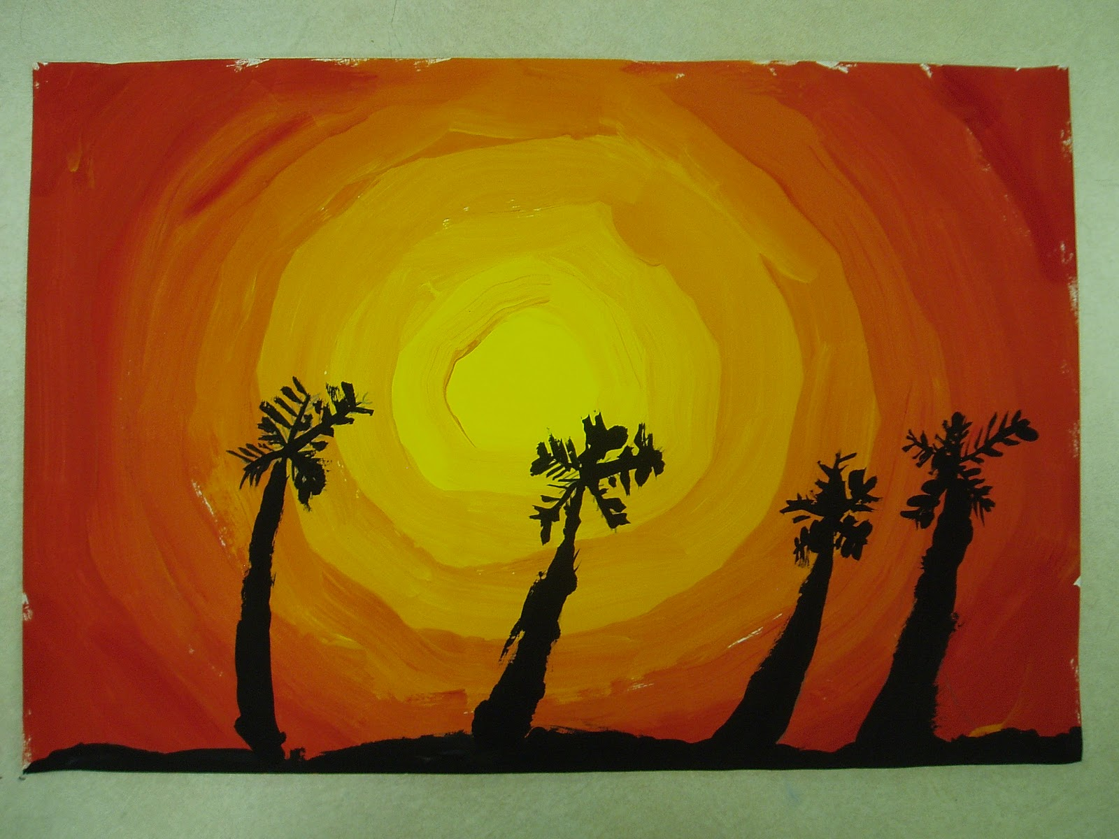 Miss Young\'s Art Room: 4th Grade Hawaii Sunset Paintings
