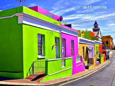 Fachadas de colores de Bo-Kapp, Ciudad del Cabo, Sudáfrica