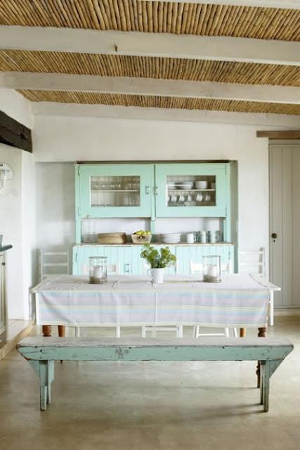 Casa de playa beach house - Cocina verde agua ...