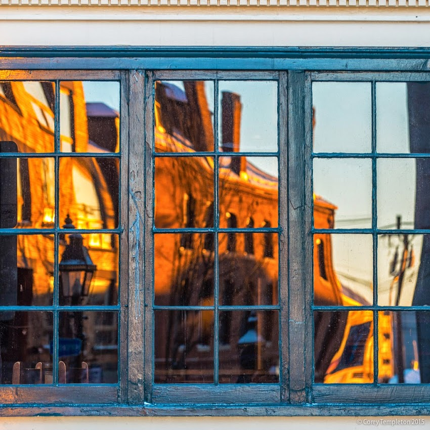 Portland, Maine February 2015 reflection of old port and fore street from Bull Feeney's pub and restaurant photo by Corey Templeton