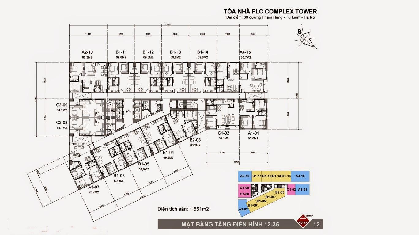 Mặt bằng thiết kế FLC Complex Phạm Hùng
