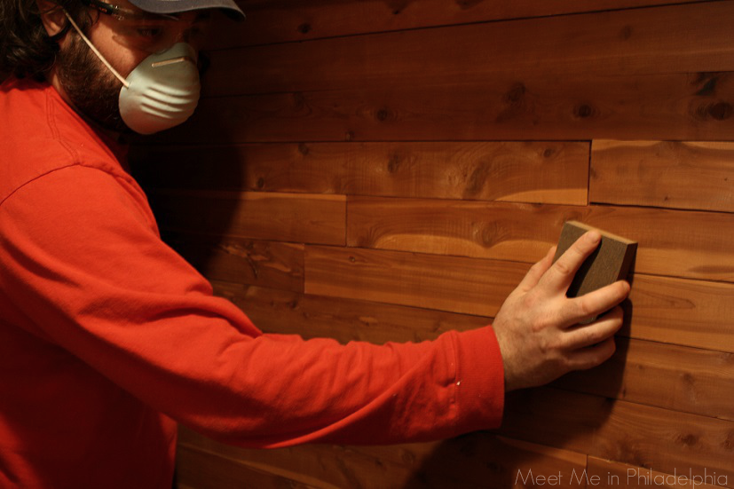 Sanding cedar walls in cedar closet via Meet Me in Philadelphia