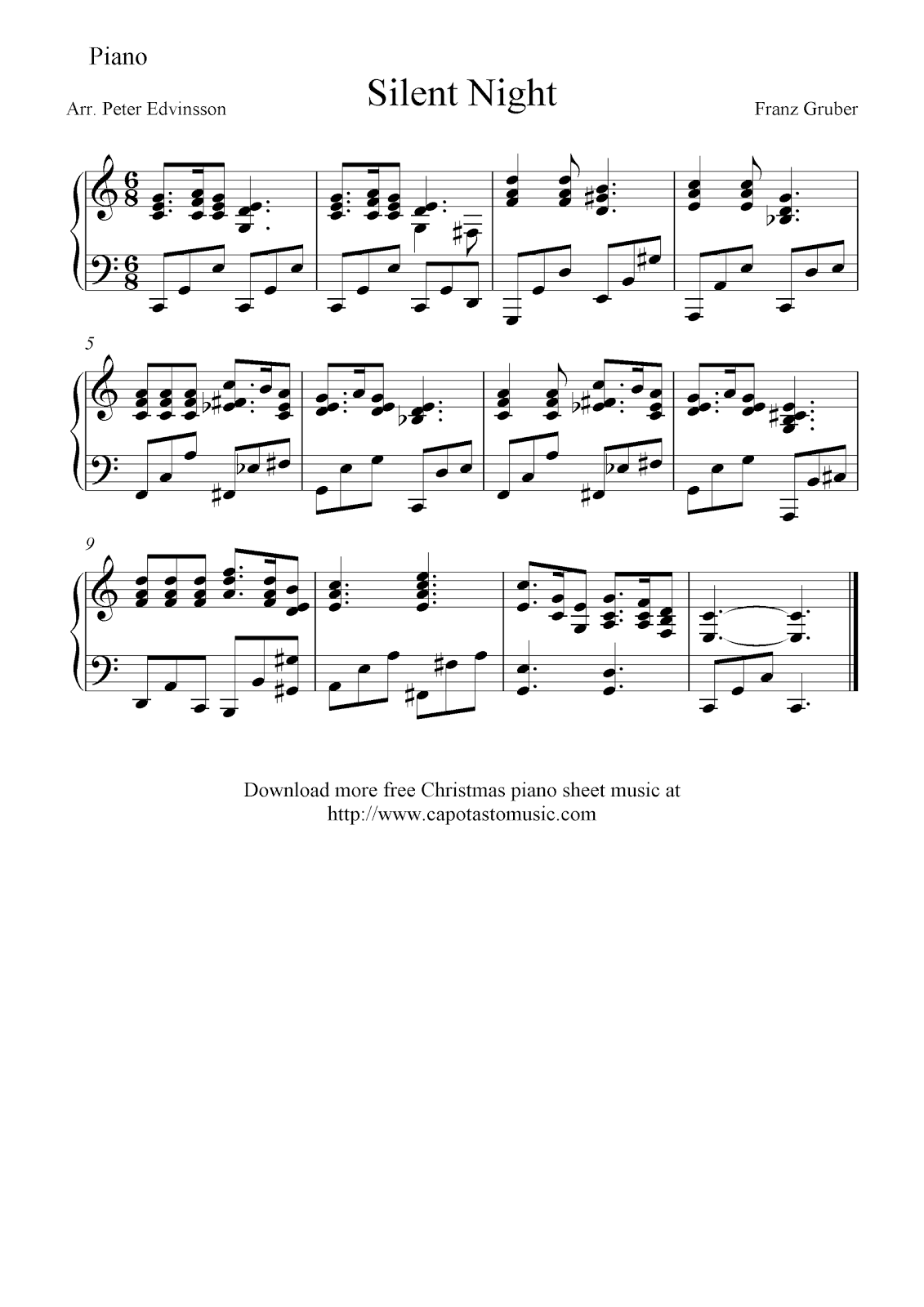 Free intermediate Christmas piano sheet music, Silent Night