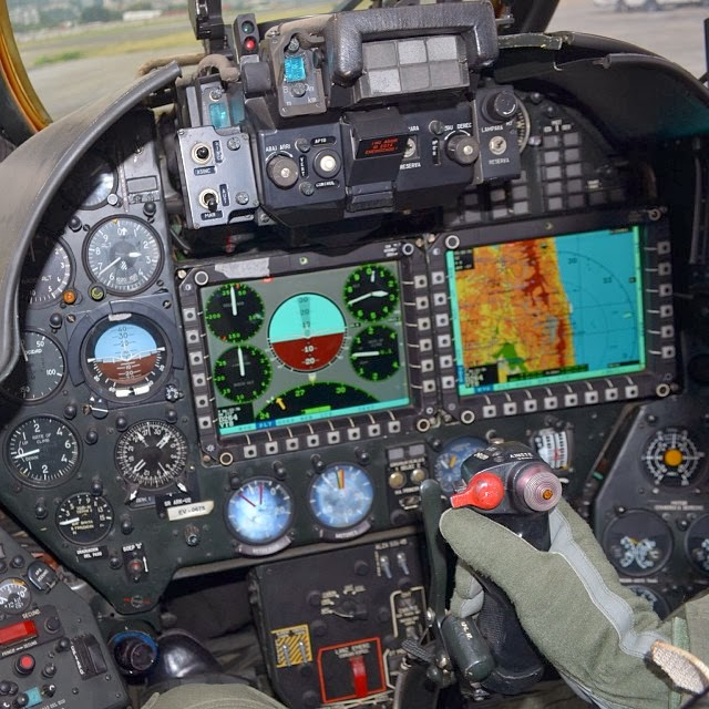 Cockpit of a helicopter