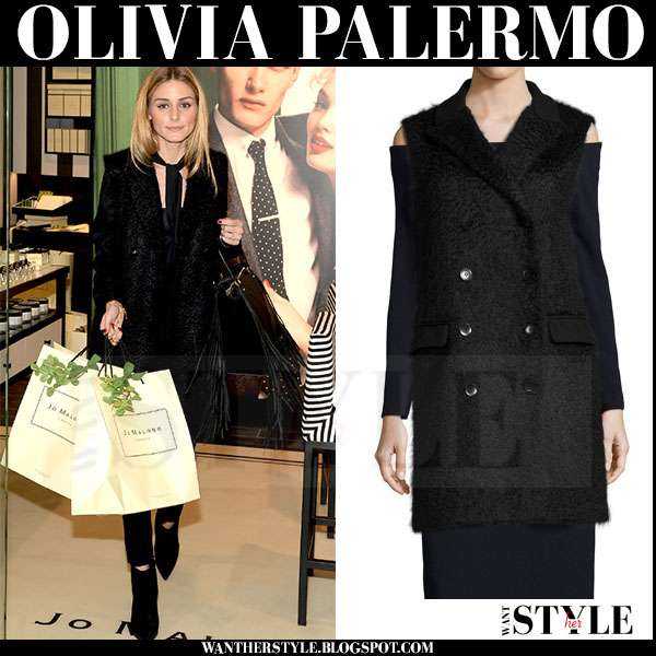 Olivia Palermo in black wool sleeveless tibi vest, skinny jeans with black fringed valentino c rockee bag what she wore streetstyle
