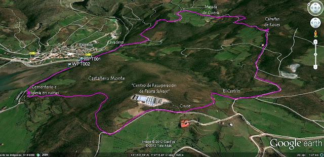 Castañeru Montes Orthographic Map Asturias