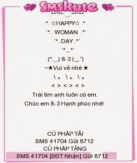 SMS chuc mung 8-3 hay nhat