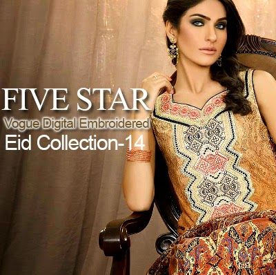 Five Star Vogue Digital Embroidered Eid Collection 2014 | Eid Dresses