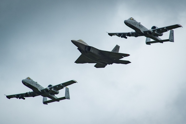 F-22 Raptor and A-10 Thunderbolt II