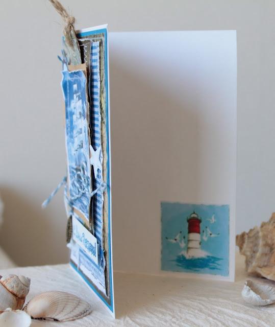 морская открытка, парусник, маяк