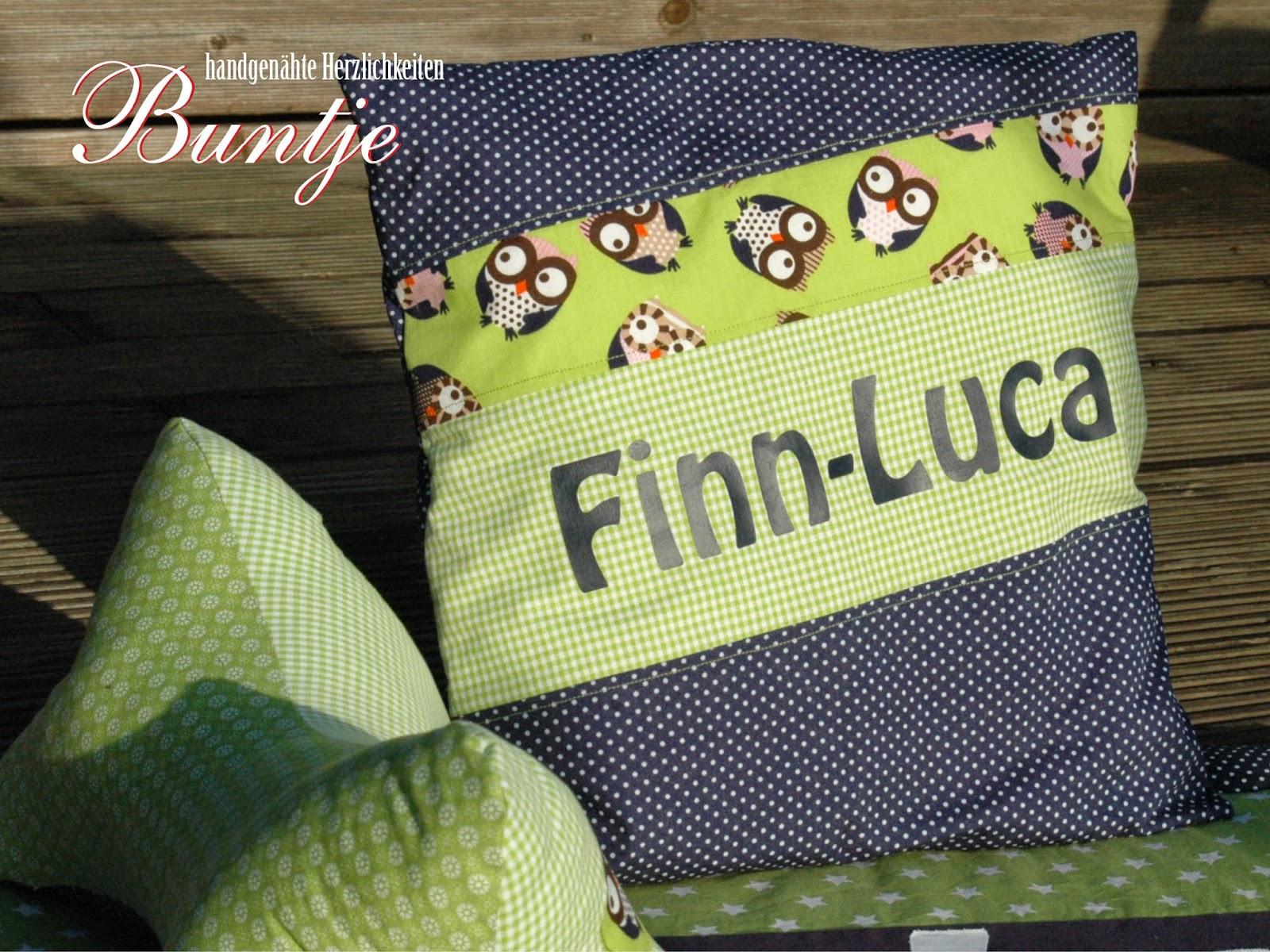 Namenskissen Kissen Name Geschenk Kind Baby Geburt Taufe 1. Geburtstag Baumwolle Junge blau grün Eulen Finn-Luca handmade nähen Buntje