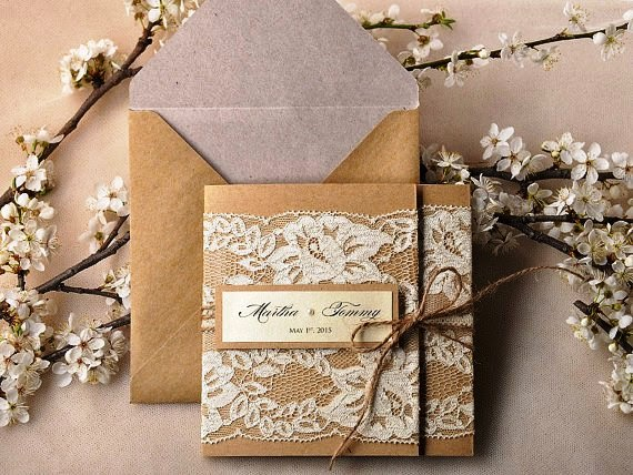 Burlap and lace wedding invitation ideas ideas arts and crafts