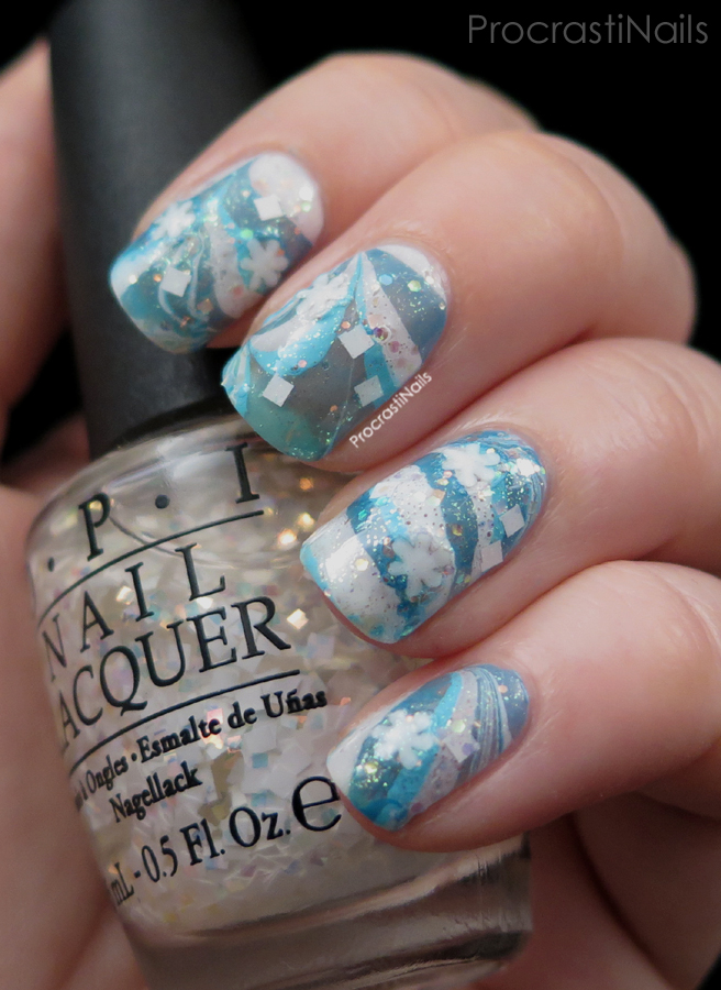 12 Days Of Christmas Nail Art Icy Blue Watermarble