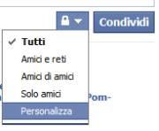 visibilità personalizzata in Facebook