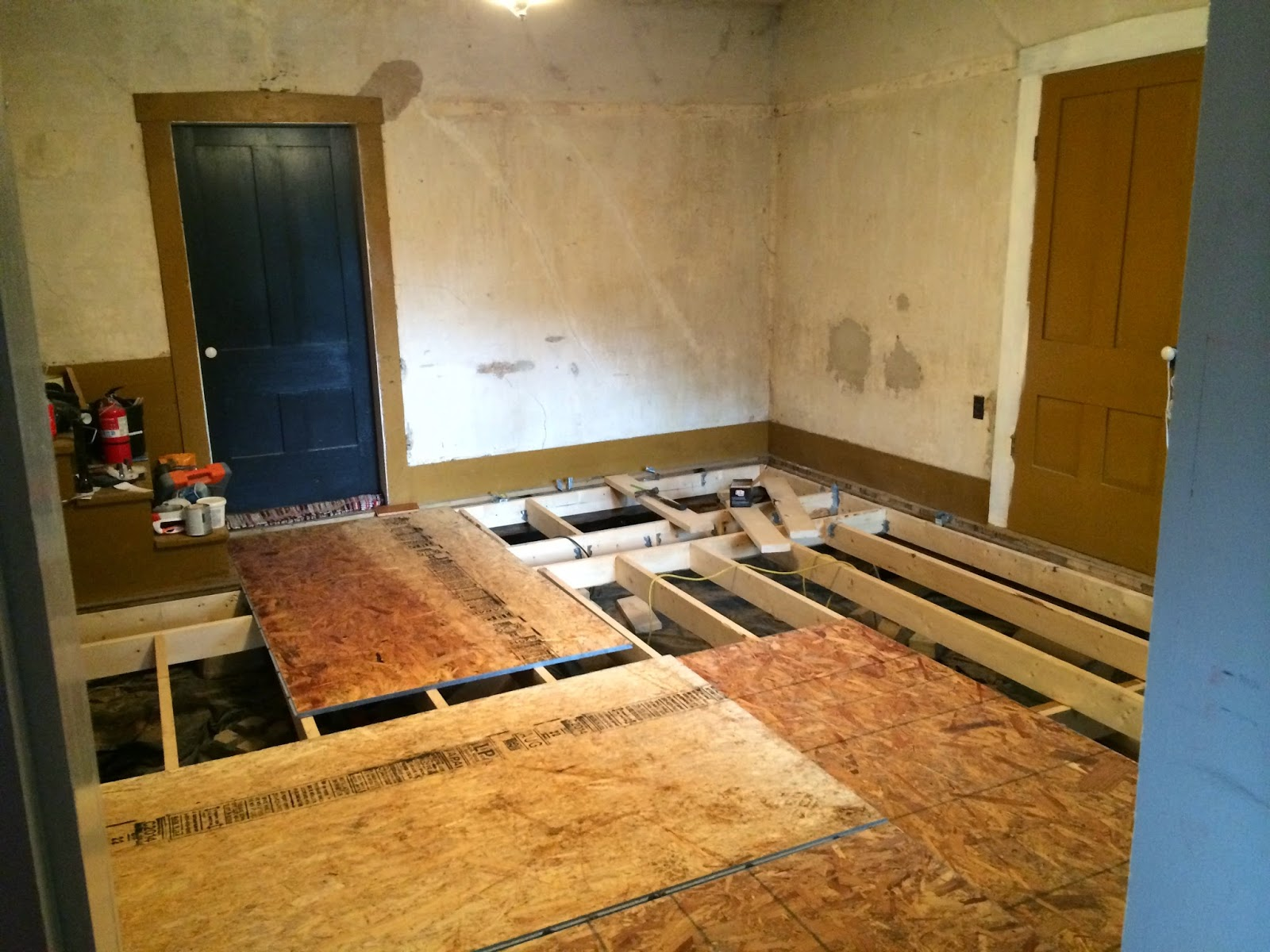 Historic farmhouse renovation no living room floor no for Clamshell door casing