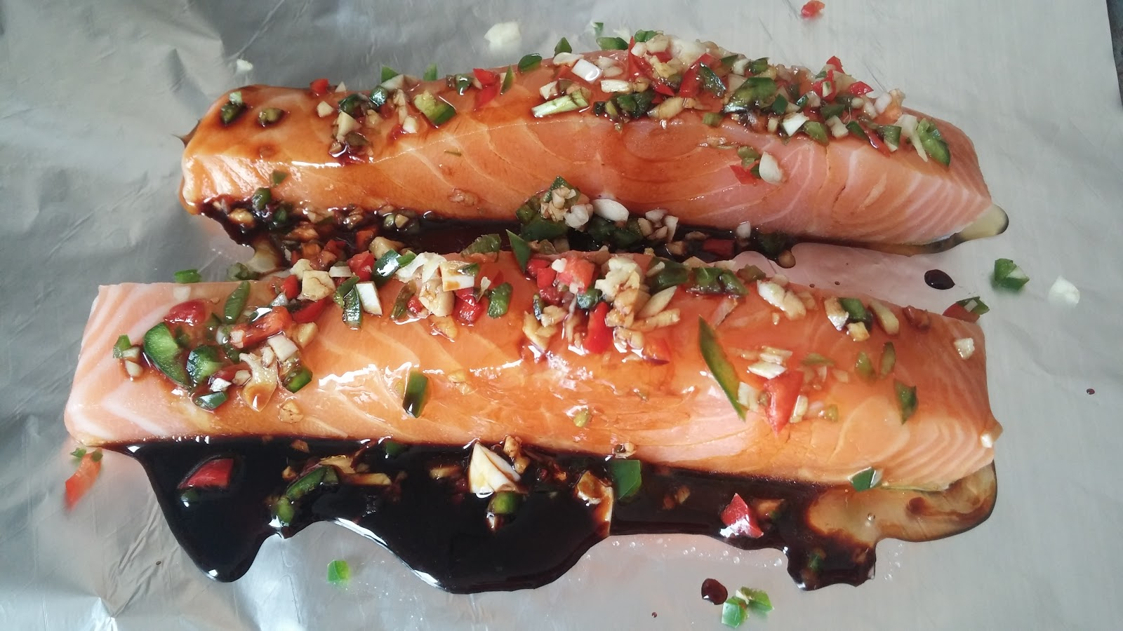 Chilli garlic soy sauce and honey on salmon