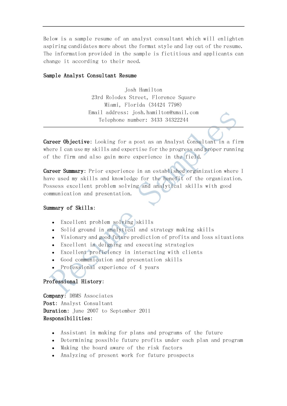 resume samples  analyst consultant resume