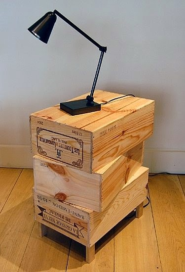 Wooden wine boxes crates the top crate
