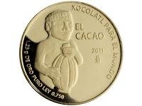 """El diseño de la moneda """"El Cacao"""" tiene una escultura azteca de un hombre cargando una vaina."""
