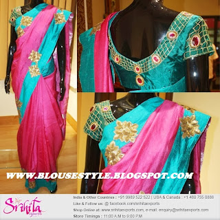 PINK SAREE WITH BACK NECK BLOUSE