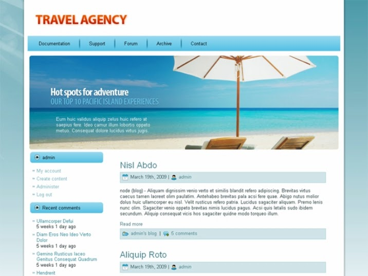 Paradise free Drupal Theme for Travel Agencies
