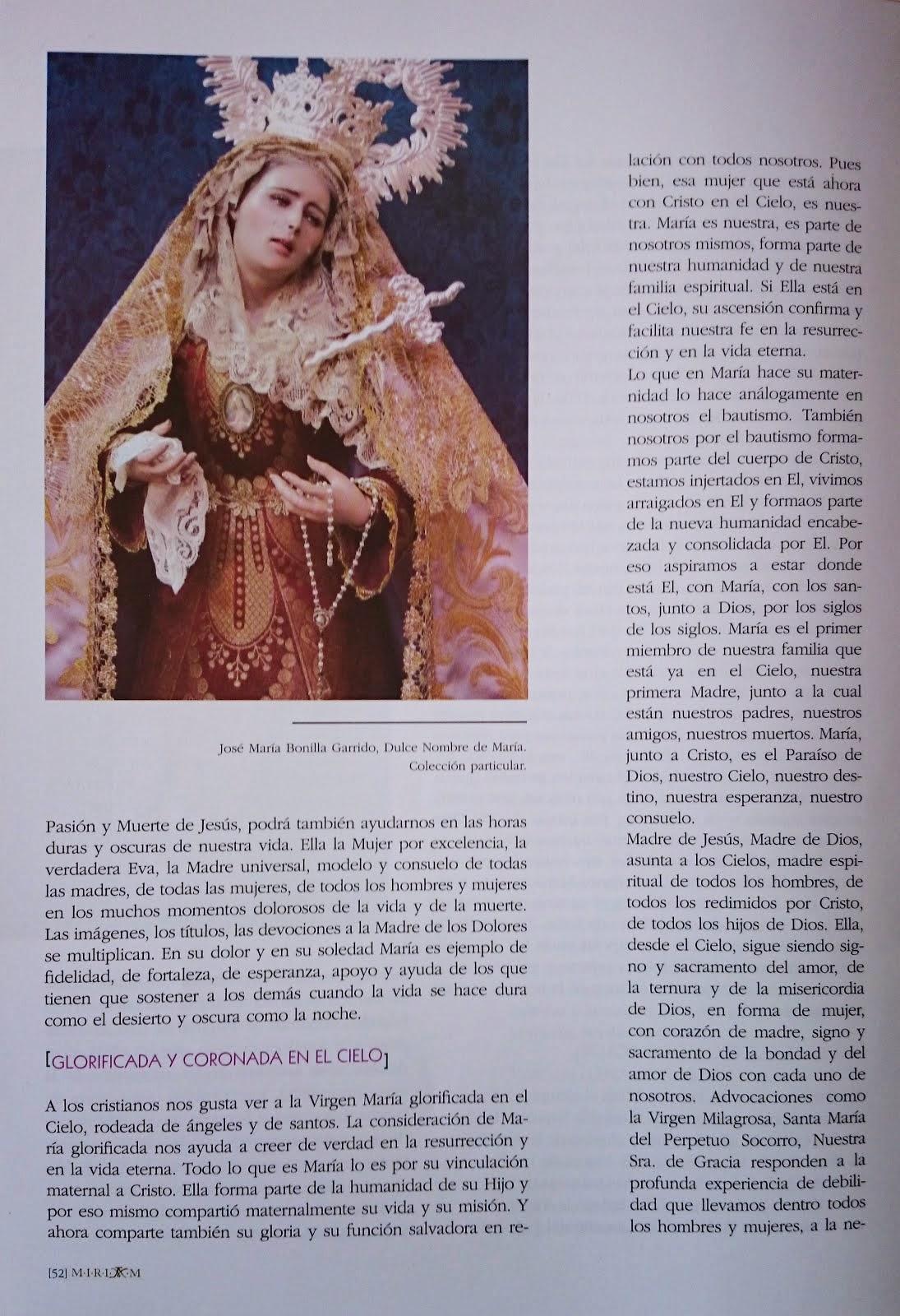 Publicación en la Revista Mariana Universal, M.I.R.I.A.M   Iglesia del Santo Angel Sevilla.